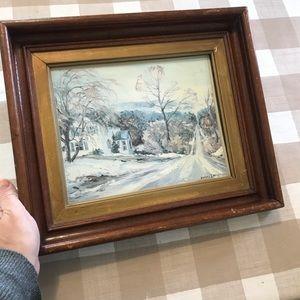 Vintage Mary Lampman print, winter scene